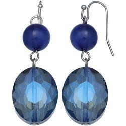 Bay Studio Blue Glass Double Bead Drop Earrings