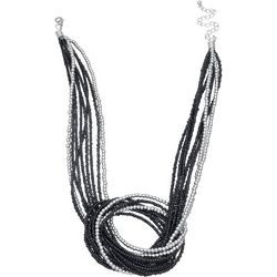Black Seedbead Front Knot Necklace