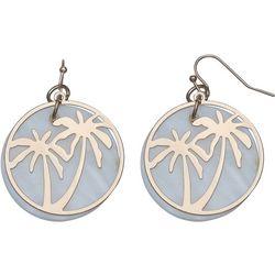 Bay Studio Palm Tree Overlay Shell Disc Earrings