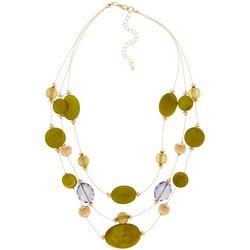 Bay Studio Gold Tone 3 Row Green Shell & Beaded Necklace