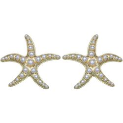 Bay Studio Gold Tone & Pearl Starfish Earrings