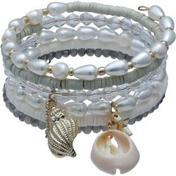 Bay Studio 6 Row White Pearl & Bead Coil Bracelet