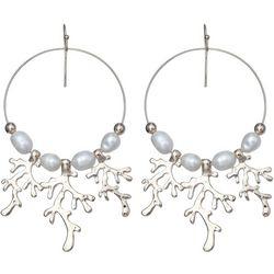 Bay Studio Pearl & Coral Gypsy Hoop Drop Earrings