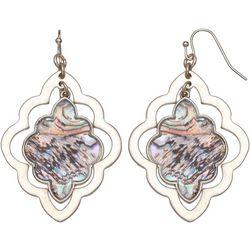 Bay Studio Abalone Diamond Gold Tone Drop Earrings