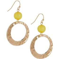 Bay Studio Yellow Bead Hammered Ring Drop Earrings