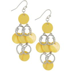 Bay Studio Yellow Shell Discs & Silver Tone Ring Earrings