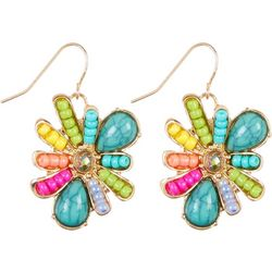 Juniper + Lime Multi Seed Bead Flower Drop Earrings