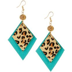 Bay Studio Turquoise Blue Animal Print Kite Earrings