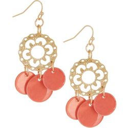 Bay Studio Filigree Disc & Coral Pink Shell Disc Earrings