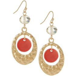 Bay Studio Coral Pink Shell Hammered Ring Drop Earrings