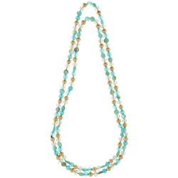 Bay Studio Gold Tone & Blue Bead Long Necklace