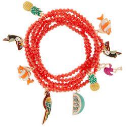 Bay Studio 6-Row Beaded Tropical Charm Stretch Bracelet
