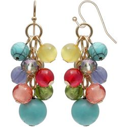 Coral Bay Multi Bead Cluster Drop Earrings