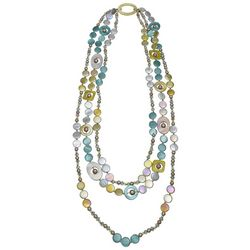 Bay Studio Triple Row Multi Bead & Shell Necklace