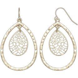 Milli Worn Gold Filigree & Teardrop Earrings