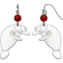 Chubby Mermaids Red Bead Silver Tone Manatee Earrings