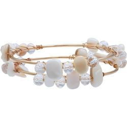 Milli 2 Pc Shell & Bead Wrap Bangle Set