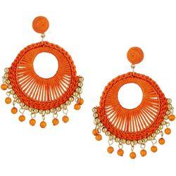 Bay Studio Orange Thread Woven Gypsy Hoop Earrings