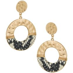 Bay Studio Snake Print Ring Drop Post Top Earrings