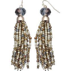 Bay Studio Long Glass & Seedbead Tassel Earrings