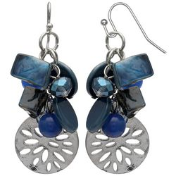 Bay Studio Blue Multi Beaded & Shell Cluster Earrings