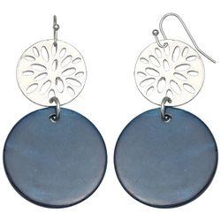 Bay Studio Blue Shell & Silver Tone Disc Drop Earrings