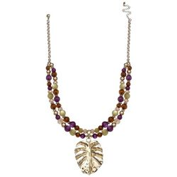 Bay Studio Purple & Green Bead Leaf Pendant Necklace