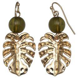 Bay Studio Bead & Gold Tone Leaf Drop Earrings