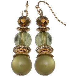Bay Studio Green & Bronze Tone Beaded Drop Earrings