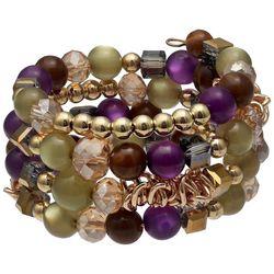 Bay Studio Purple & Green Beaded Coil Bracelet
