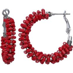 Bay Studio Red Bead Wrapped Hoop Earrings