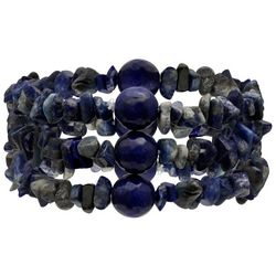 Bay Studio 3-pc. Blue Bead & Chip Stretch Bracelet Set