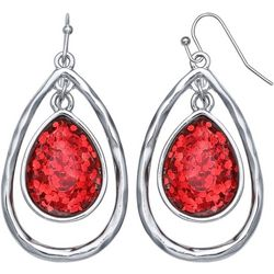 Bay Studio Red Glitter Teardrop Earrings