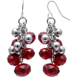 Bay Studio Red Glass Bead Cluster Dangle Earrings