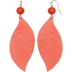 Bay Studio Coral Bead Leaf Dangle Earrings