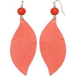 Bay Studio Coral Bead Leaf Dangle Earrings