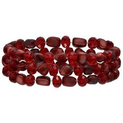 Bay Studio 3-pc. Red Bead & Shell Stretch Bracelet Set