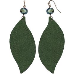 Bay Studio Green Bead Leaf Fabric Drop Earring