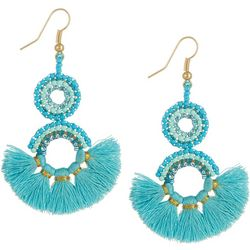 Bay Studio Double Seedbead Ring Tassel Earrings