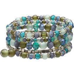 Bay Studio Green Multi Beaded Coil Bracelet