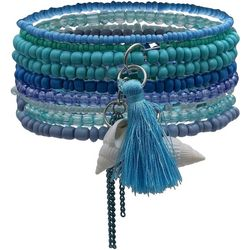 Bay Studio Blue Multi Row Bead Tassel Bracelet Set