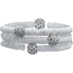 Bay Studio White Shell & Fireball Bracelet Set