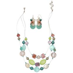 Coral Bay Pastel Multi Shell & Bead Earring & Necklace Set