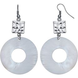 Bay Studio Hammered Square White Shell Donut Drop Earrings