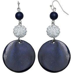 Bay Studio Navy Shell & Fireball Earrings