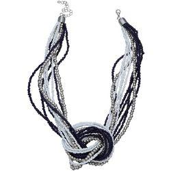 Bay Studio Navy & White Seedbead Knot Necklace
