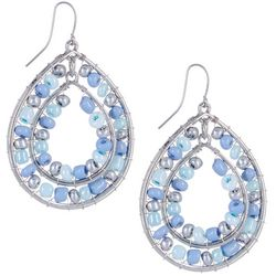 Bay Studio Blue Beaded Double Teardrop Earrings