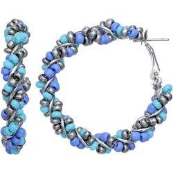 Bay Studio Blue Multi Seedbead Wrap Hoop Earrings