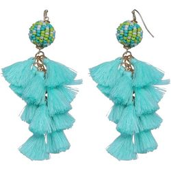 Bay Studio Aqua Multi Tassel Dangle Earrings