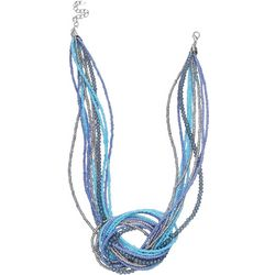 Bay Studio Blue Multi Row Bead Knot Necklace